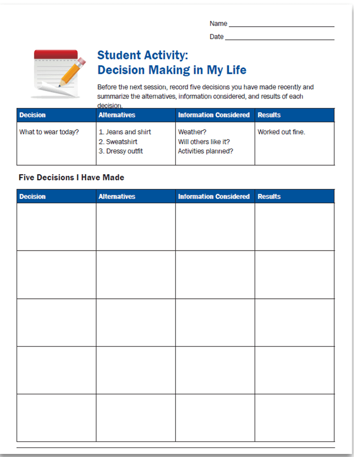 Downloadable PD student activity: decision making in my life